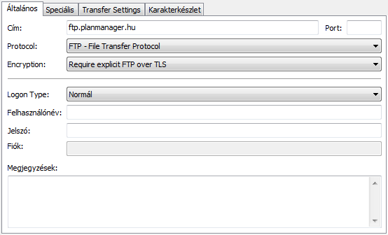 Planmanager - FileZilla beállítások