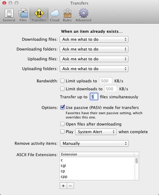 Planmanager - Transmit beállítások