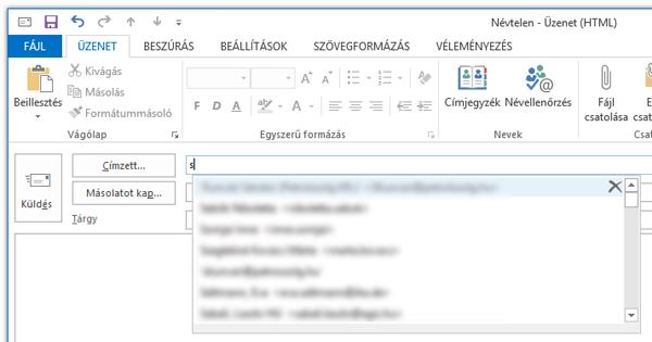Outlook automatikus kiegészítés