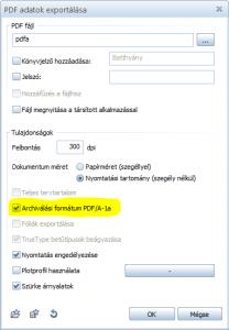 Exportálás PDF/A formátumba
